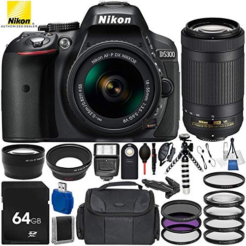 Nikon D5300 with AF-P DX 18-55mm f/3.5-5.6G VR + Nikon AF-P DX 70-300mm f/4.5-6.3G ED VR 19PC Accessory Bundle – Includes 64GB SD Memory Card + Digital Slave Flash + Hand/Wrist Strap + MORE