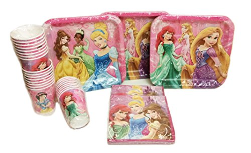 Disney Princess Party Pack. Contains 24 Disney Princess Plates, 24 Disney Princess Cups, 32 Disney Princess Party Lunch Napkins. Bundle of 8.