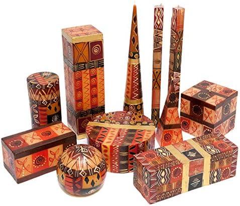 Hand Painted in South Africa Kapula Fair Trade Candle Pillar 7x15 cm Safari Gold Design