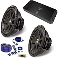 (2) Kicker 10C104 10 Comp Subwoofers and a DUBa1450 900 Watt Amp + Amp wire kit Package