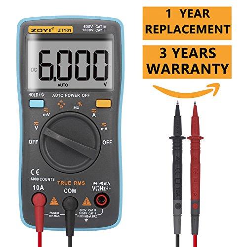 Compact Digital Multimeter (Digital Multimeter 6000 counts Palm-size True-RMS Multimeter Current Ohm Auto/Manual Backlight AC DC Voltage Ammeter)