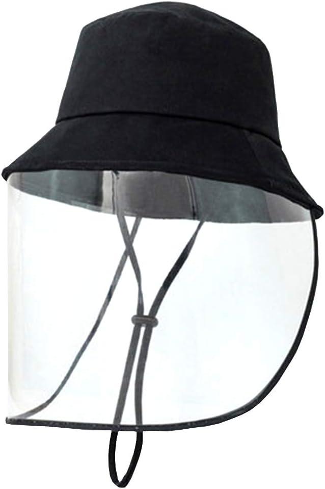 Heatile Máscara Protectora Transparente antisalpicaduras Sombreros de ala Ancha a Prueba de Viento a Prueba de Polvo a Prueba de Viento Unisex para Exterior Interior