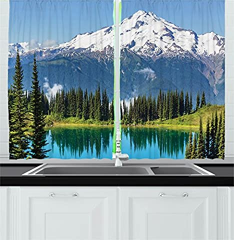 Scenery Decor Kitchen Curtains by Ambesonne, Crystal Clear Lake and Snowy Mountain Peaks Tops Hiking Northern Lands Image, Window Drapes 2 Panels Set for Kitchen Cafe, 55W X 39L Inches, Green Blue