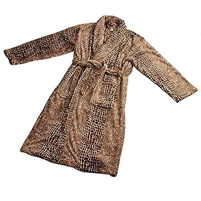 Home Soft Things Men & Women Bathrobe Printed Flannel Fleece Cloth Robe, Alligator, L/XL