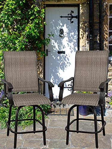 Will-Mall Patio Furniture Swivel Bar Chairs Set of 2
