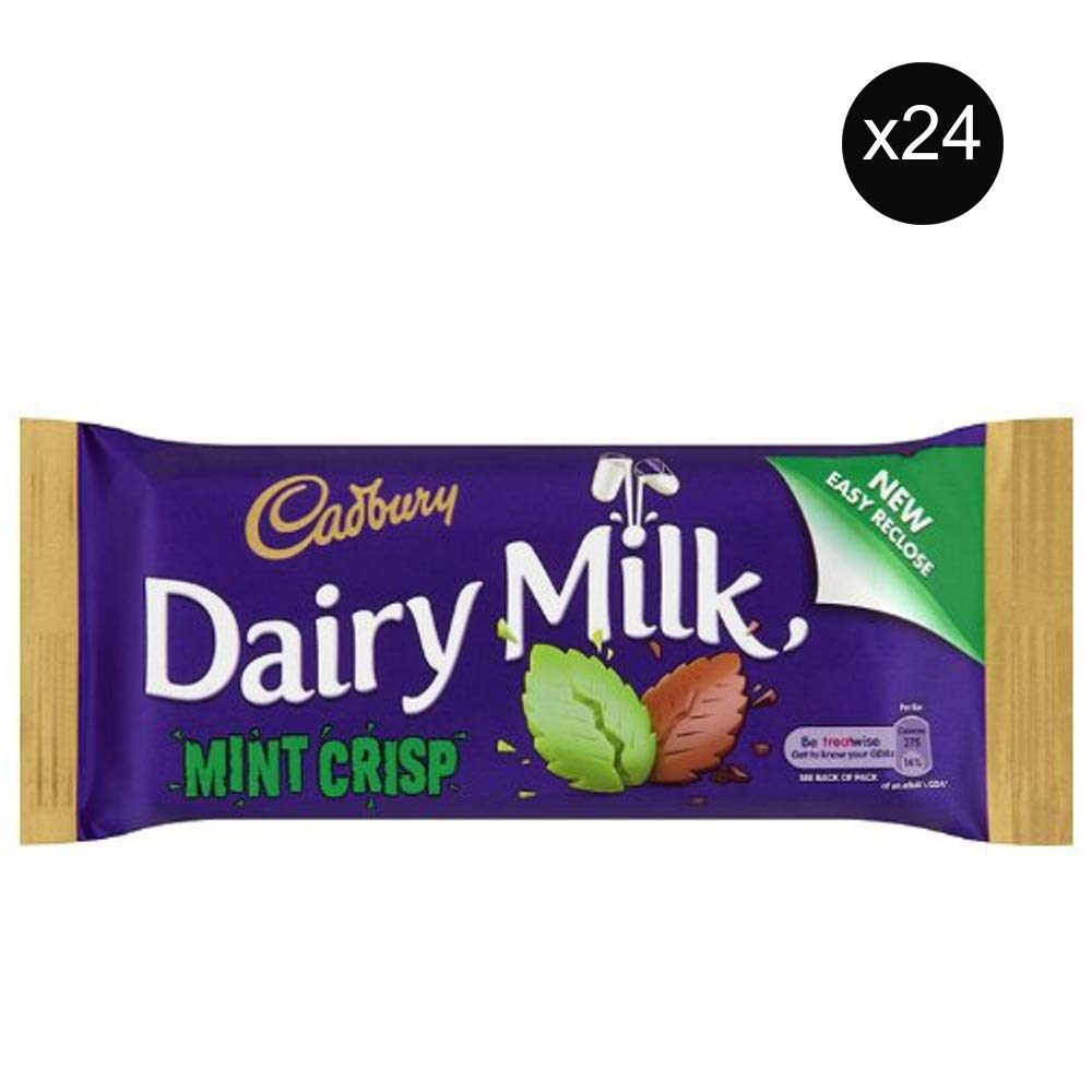 Cadbury Dairy Mint Crisp Bar   Total 24 bars of British Chocolate Candy - Cadbury Mint Crisp Bar 53g each