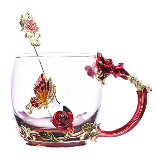 Coffee Cup Collectible - Tea Cup Coffee Mug Cups Clear Glass & Spoon Handmade Butterfly Rose ,12 oz (Rose)