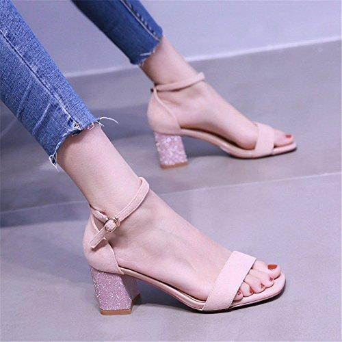 tacco in Heel estiva Ladies pelle tacco Toe sandali con Pink Open scamosciata YMFIE 'Square Sling con Décolleté alto con medio AnxUnOZ