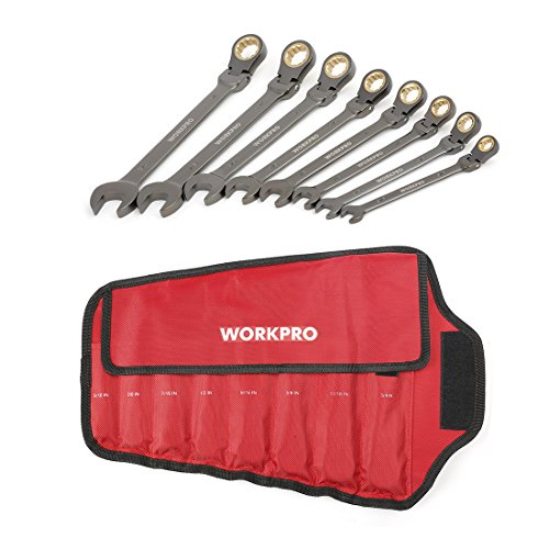 WORKPRO 8-piece Flex-Head Ratcheting Combination Wrench Set Cr-V Nickel Finish with Organizer Bag