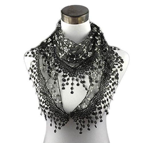 Bolayu Fashion Lace Tassel Sheer Burntout Floral Print Triangle Mantilla Scarf Shawl - Lace Print Scarf