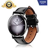 SHMILY Men's & Women's Wrist Green Blue Black Watches, Quartz Analog 50M Waterproof Dress Watches with Black Leather Strap