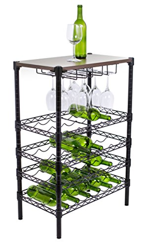 Internet's Best 24 Bottle + 12 Glass Wine Stand with Wood Top | Kitchen | Glass Hanger | Metal Black | Vertical Shelf Cabinet | Free Standing