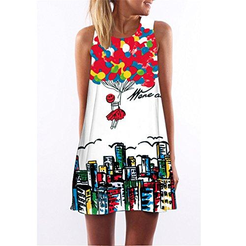 Mujer Flor Impresión Vestido IHRKleid® Vintage Suelto Otoño Vestido Mini Dress Style 1