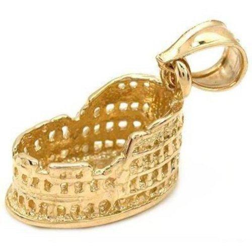 14K Gold Rome Coliseum Charm Roman Travel 12mm