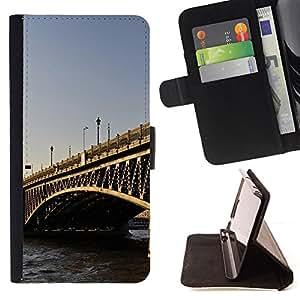 BullDog Case - FOR/Samsung Galaxy S6 EDGE / - / Architecture London Bridge /- Monedero de cuero de la PU Llevar cubierta de la caja con el ID Credit Card Slots Flip funda de cuer