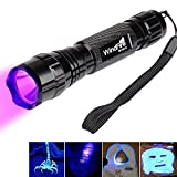 WindFire® Wf-501b 1 Mode UV-Ultraviolet Led Blacklight Flashlight 18650 Rechargeable Battery UV Ultraviolet Blacklight Flashlight Torch with Features Money Detector, Leak detector and Cat-Dog-Pet Urine Detector(Batteries included)
