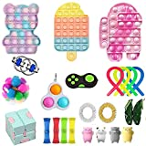 Fidget Toy Pack, Cheap Sensory Fidget Pack Stress Relief Toys Set with Pop Bubble Marble Mesh Pop Anxiety Tube for Kids Adult (Fidget Pack e)