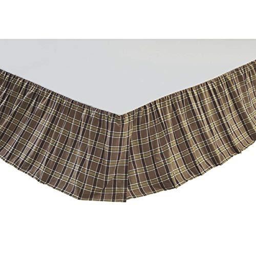 (VHC Brands Rustic & Lodge Wyatt Tan Bed Skirt, Queen, Red)
