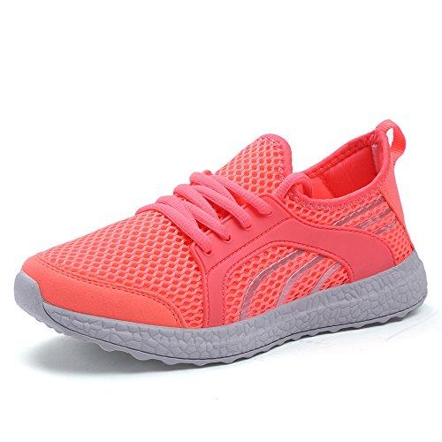 Creeker Zapatos Deportivos de Gimnasia Zapatillas Casual para Caminar con Cordones, Adultos Unisex Rosa