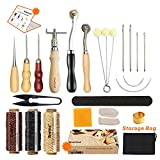 Leather Sewing Tools SIMPZIA 24 Pieces Leather Tools Craft DIY Hand Stitching Kit with Groover Awl Waxed Thimble Thread for Sewing Leather, Canvas Or Other Leather Craft Projects