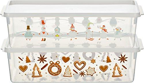 Haushaltsdose Keksdosen Plätzchendose 2er Set rechteckig 5l Plätzchen- und Schneemann-Design