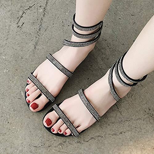 2ae0c0c2f {Minikoad}Women Roman Sanda,Ladies Flat-Bottom Sexy Rhinestone Shoes (US