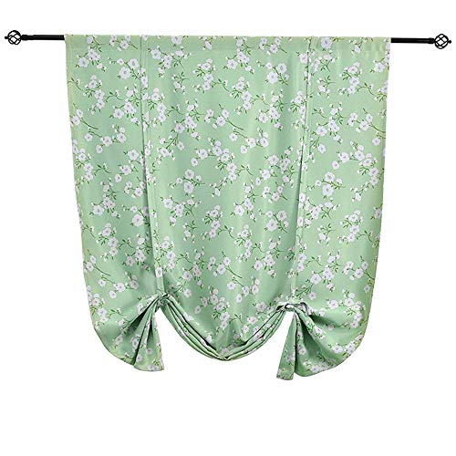 (WUBODTI Room Darkening Thermal Insulated Curtain Blackout Tie Up Window Shade Panel,32x55 Inch,Green,White)