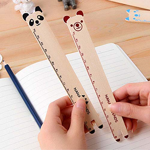 BALUZ Wooden Ruler,6 Inches/15cm Cute Novelty Animal Shape Drawing Ruler for Office School Supplies 10PCS by BALUZ (Image #3)
