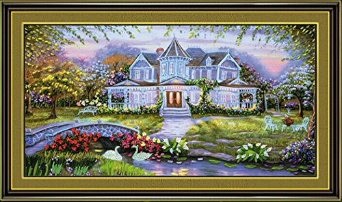 (Aureate Handmade Ribbon Embroidery Kits Canvas 3D Wall Art Home Decoration DIY Needlepoint Tapestry Hanging Gift Summer Palace Paradise Landscape Swan 30