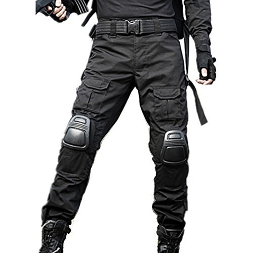 Combat Paintball Pants - KYhao Military Paintball BDU Tactical Trousers Airsoft Pants Multi-Pocket Duty Pants Knee Pads (M (32), Black)