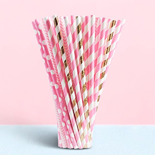 IHopes+ 100 Pieces Paper Straws Drinking Decoration Straw for Birthdays, Weddings, Christmas, Celebrations and Parties, Theme Decorative Paper Straws,Various Patterns (3Pink 1Gold)