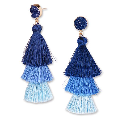 (YOUTH UNION Colorful Tassel Earrings Multilayered Bohemian Style Dangle Drop Tiered Druzy Stud Earrings for Women Girls (Navy Blue Ombre))