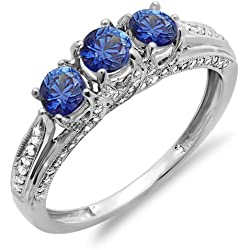 14K White Gold Round White Diamond And Blue Sapphire Ladies Vintage Bridal 3 Stone Engagement Ring