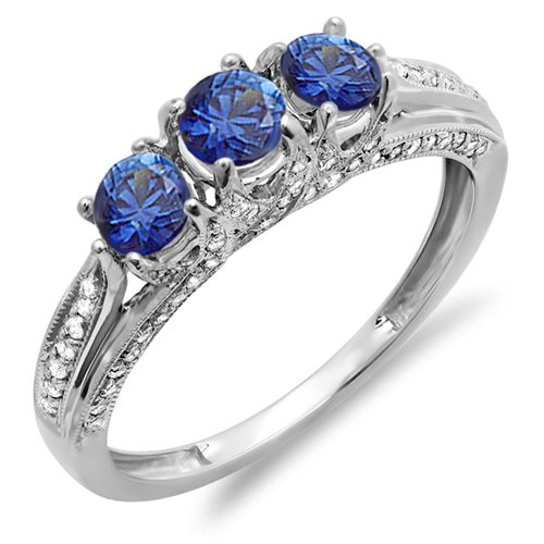 14k White Gold White Diamond And Blue Sapphire Ladies Vintage Bridal 3 Stone Engagement Ring (Size 8.5)