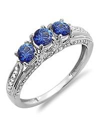 14K White Gold Round White Diamond And Blue Sapphire Ladies Vintage Bridal 3 Stone Engagement Ring