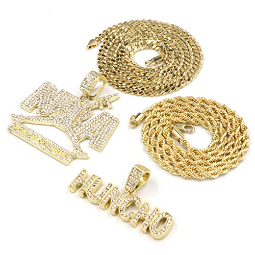 Iced Out NBA Never Broke Again Pendant/W HUNCHO Pendant Rope Chain Set