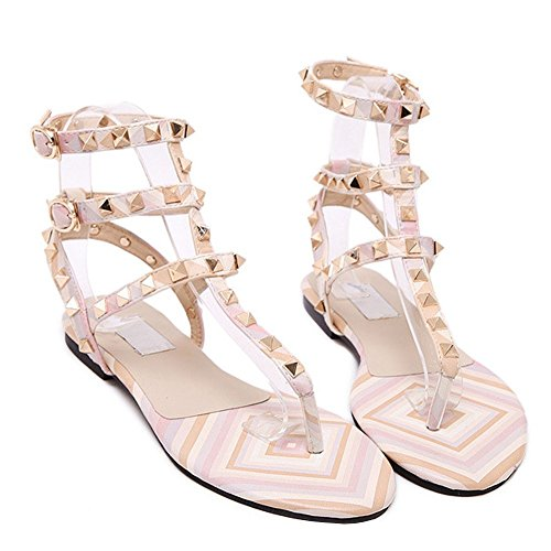 fereshte Women's Buckle Toe Pink Gladiator Flops Flip Strap Studded Sandal T Rivet Flat Open Ankle wwd1frS8q