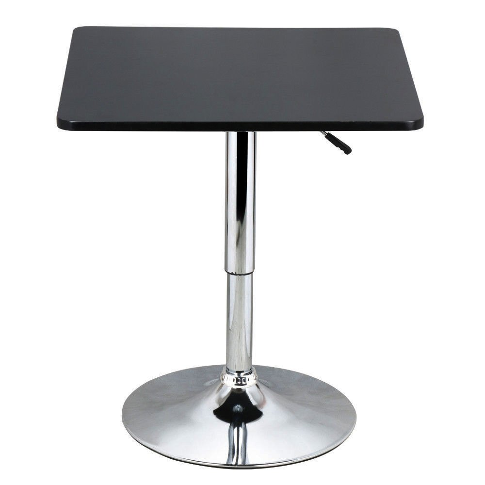 Modern Sleek Design 35'' Adjustable Bar Table Pub Kitchen Bistro Counter Square Wood Top 360 Degree Swivel/ Black #663