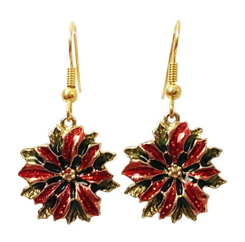 Stainless Steel Dangle Earrings Christmas Poinsettia Gold Tone