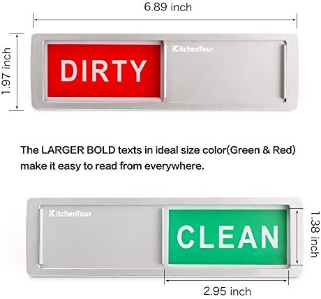KitchenTour Clean Dirty Magnet for Dishwasher Upgrade Super Strong Magnet – Easy to Read Non-Scratch Magnetic Silver Indicator Sign with Clear, Bold & Colored Text 51T1CCi3qiL
