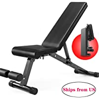 Weight Bench Adjustable, Strength Training Bench for Full Body Workout with Fast Folding- Black(Ships from US)