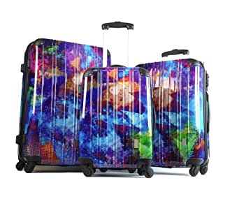 "S. H. Vivid 20"" 24"" 28"" Hardside Luggage Impressionist style set"