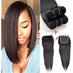 """Brazilian Straight Human Hair 3 Bundles With Lace Closure Unprocessed Virgin Hair Extensions Natural Color 8""""8""""10""""+10"""" closure"""