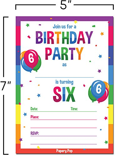 6th Birthday Party Invitations With Envelopes 15 Count