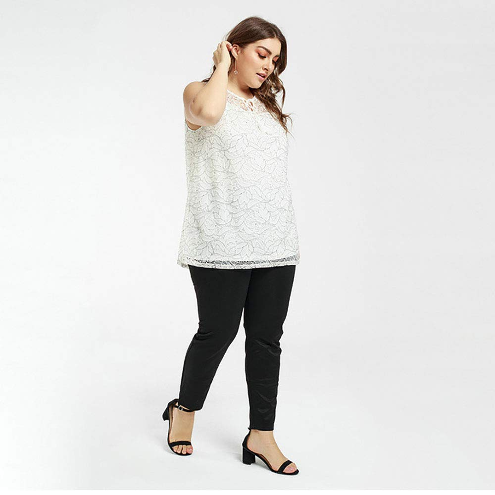 ,White,L Large Size T-Shirt Without Pants AOTOA Womens Loose top lace Casual Style Sleeveless Vest