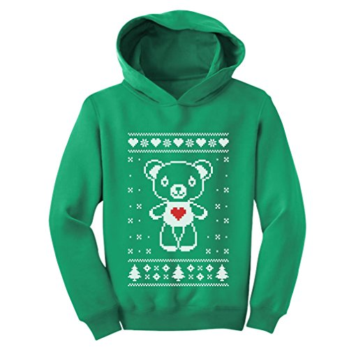 Big White Furry Bear Love - Cute Ugly Christmas Sweater Toddler Hoodie 5/6 - Bear Christmas Green