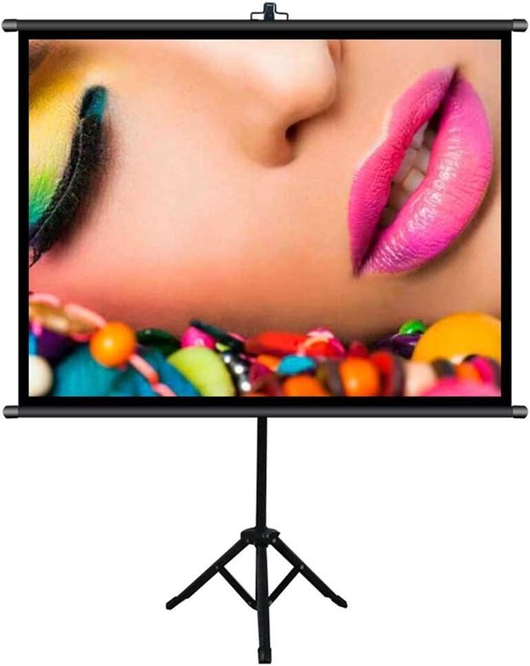 壁掛け式スクリーン スタンドホームシアター、屋内/屋外プロジェクタースクリーン付き折り畳み式映画スクリーン 投射スクリーン 映画鑑賞/オフィス会議/プレゼン (Color : Black, Size : 60inch)