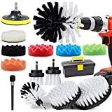 GOH DODD Drill Brush and Buffing Sponge Pads, 17 Pieces Power Scrubber Soft White Car Wash Kit Spin Brush Wheel Carpet Interior Detail Brush with Long Reach Attachment in Box for Auto Boat Motorcycle