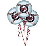 "Amscan Exciting Minnesota Twins Balloons Party Decoration (3 Pack), 18"", Silver"
