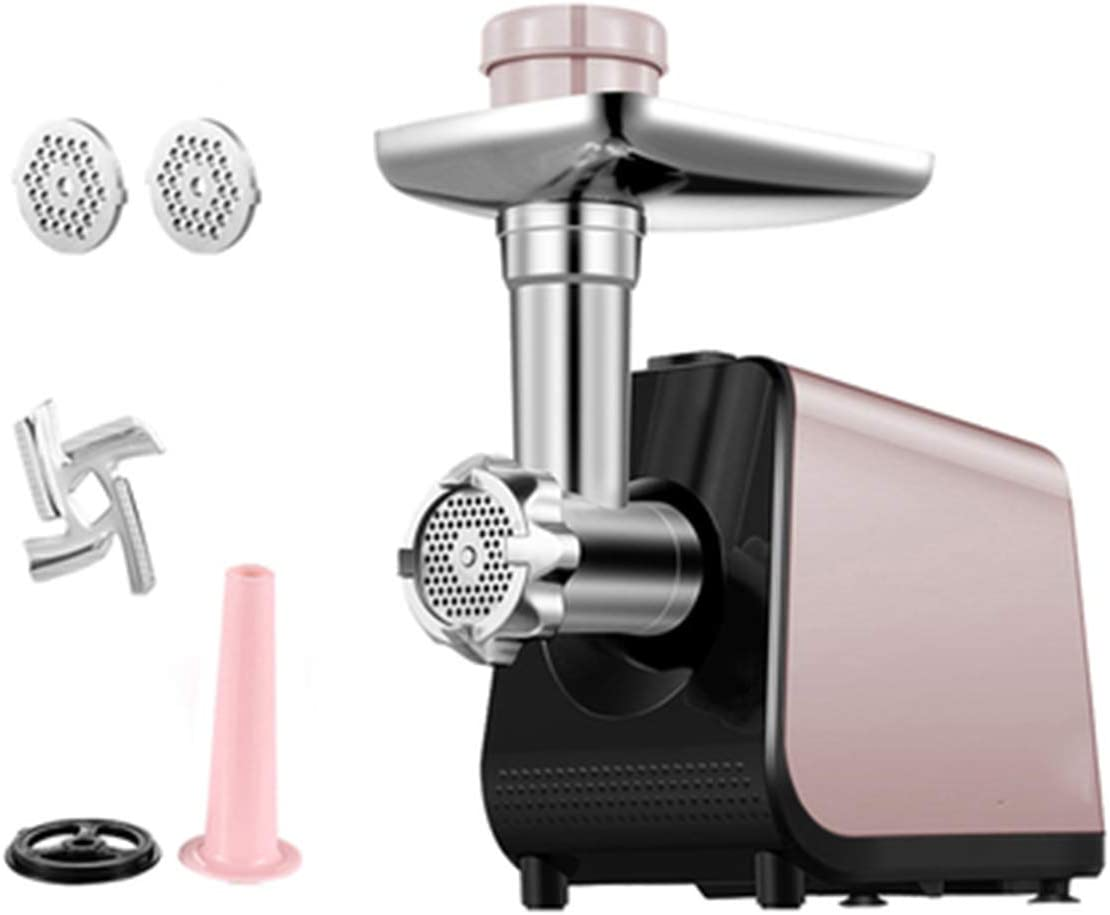 SHUHAO Electric Meat Grinder, Sausage Maker, Home Kitchen Food Processor, for Chopping Meat and Homemade Fillings, Noodles, and Grated Ginger, Garlic and Chilli Sauce,Pink,A